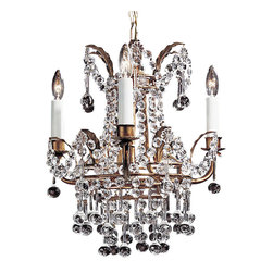 "Inviting Home - Small Empire Crystal Chandelier - small crystal chandelier; 13-1/2"" x 15-1/2""H; hand-crafted in Italy; Charming Empire style three light crystal chandelier. Chandelier has an antiqued gilded hand wrought iron frame with stylized leaf motif and beautifully dressed in octagonal cut crystal buttons rosettes and pendants. This chandelier is hand-crafted in Italy. UL approved - dry location; hardwire; 3x 60W max. candelabra bulds; bulbs not included. Approx. 6 feet of chain/wire drop provided. Handcrafted in Italy."