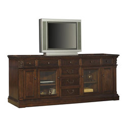 Hekman - Old World Walnut Burl 88-inch Entertainment Credenza - This is a beautiful piece of top-quality furniture that's perfect for your Man Cave, Game Room, Office or anywhere you would like to decorate and show your personal style.