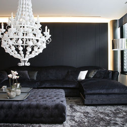 CHARLES MODULAR  SOFA and STANFFORD OTTOMAN - Fabric upholstered. Very confortable.