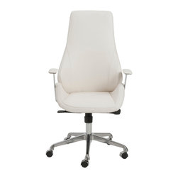 Eurostyle - Bergen High Back Office Chair-Wht/Chrm - Leatherette seat and back over foam
