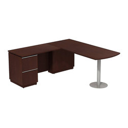 "Bush - Bush Milano 2 72"" Left-Hand L-Shape Peninsula Desk in Harvest Cherry - Bush - Computer Desks - MI2027LCS - Welcome to your new office. For doing your job well you've earned the freedom and means to express your personal taste. Milano 2 appeals to your practical side and looks good doing it. Stylish functional and accommodating the Bush Milano 2 Line Harvest Cherry or Golden Anigre 72""W LH Peninsula L-Desk (F/F) fits any work space. The ""L"" configuration fits most office footprints and offers ample room to spread out. offers a right-hand orientation for the peninsula with left-side desk pedestal and two file drawers. Drawers extend fully on ball-bearing slides providing unfettered access to letter- legal-or A4-size files. Gang lock concealed in knee well is out of sight for extra security. Polished extruded aluminum door and drawer pulls add a sophisticated design element. Back panel cutout for wire management conceals unsightly cords and cables. Pencil Drawer or Keyboard Shelf (optional) provides extra versatility. Durable rich Diamond Coat finish is long lasting stands up to scratches and stains and blends beautifully in executive suites. Contoured edge banding helps minimize nicks dents or other collision impacts. Includes Bush limited Lifetime warranty."