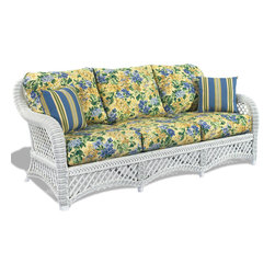 Wicker Paradise - White Wicker Sofa - Lanai - The wicker sofa is a picture perfect staple for anyone looking to build a comfy wicker furniture seating set. With large enough room, our sofas make perfect napping pieces, seating for guests to enjoy your entertaining and shines of natural wicker beauty. The Lanai wicker sofa includes thick bottom and back cushions in your choice of fabric. Natural wicker on a wooden frame is ideal for covered porches, sunrooms, living rooms, and any other partially covered areas.