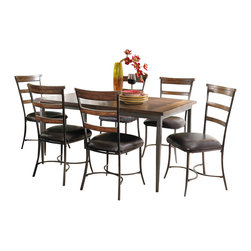 "Hillsdale Furniture - Hillsdale Cameron 7-Piece Rectangle Dining Set with Ladder Back Chairs - Hillsdale's Cameron collection beautifully combines a warm chestnut brown wood finish with a dark grey metal and offers a multitude of choices to create the perfect dining group for your home. Starting with the chairs, you have the choice of three lovely designs: The X-Back chair combines a warm chestnut brown top accent with a transitional metal X in the center of the back and a brown faux leather seat. The parson's chair is traditional in design and combines the warm chestnut brown finish with the brown faux leather seat. The ladder back chair features 3 rungs in the chestnut brown finish, enhanced by the dark grey metal and brown faux leather seat. Now that you have decided on your chair, let's look at the table options: The stunning rectangle table features a wood top that is generously scaled to easily accommodate 6. The simple round table features a 48"" diameter wood top with flared metal legs. The round wood table is 48"" in diameter and features a wonderful metal accent on the base."