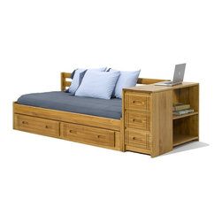 """Woodcrest - Heartland Daybed with Storage - WCM578 - Shop for Daybeds from Hayneedle.com! The Heartland Daybed with Storage is a multitasking wonder that will make the cut for even the most discerning furniture lover. This piece is crafted from sturdy pine wood for a structure unmatched in strength and a light pine finish brings beauty in equal measure. Featured are three storage drawers two shelves and a storage trundle providing a vast abundance of space for all your extra storage needs. This piece measures: 78L x 43W x 28H inches.About Woodcrest ManufacturingIn business for nearly 20 years Woodcrest Manufacturing has grown beyond its simple origins in Peru Indiana to become a leader in global furniture industry partnerships. They specialize in """"stairway bunk bed"""" designs and all their products are tested by independent laboratories to ensure top safety in your child's bedroom."""