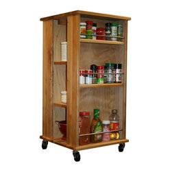 Catskill Craftsmen - Kitchen Cube Cart - Butcher block top. Open storage. Six shelves with chrome retainer rods. Two adjustable center shelve and a fixed bottom shelf. Four caster wheels. Perfect for storing smaller items and spices. Made from solid hardwood. Oiled finish. Made in USA. Top side shelf: 14.5 in. L x 3 in. W x 5.5 in. H. Middle side shelf: 14.5 in. L x 3 in. W x 9.75 in. H. Bottom side shelf: 14.5 in. L x 3 in. W x 14 in. H. Inside shelf: 14.5 in. L x 7 in. W. Table top: 17 in. L x 17 in. W x 0.75 in. Thk. Overall: 17 in. L x 17 in. W x 35 in. H. Assembly InstructionsEnormous storage with smaller foot prints.