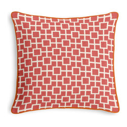 Coral Square Trellis Corded Throw Pillow - Black and white photos, Louis XIV chairs, crown molding: classic is always classy. So it is with this long-time decorator's favorite: the Corded Throw Pillow.  We love it in this modern coral pink geometric trellis on white lightweight linen. who knew being hip could be so square?