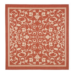 Safavieh - Safavieh Red/ Natural Indoor Outdoor Rug (7'10 Square) - Easily transform any space with this indoor/outdoor area rug. The rug is constructed from polypropylene material that is resistant to water and other elements. The red background and intricate design of this rug makes it ideal for your home or patio.