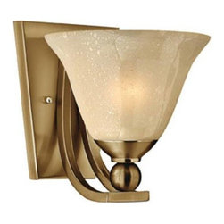 Hinkley - Hinkley 4650BR Bolla 1 Light Wall Sconce in Brushed Bronze 4650BR - 1 Light Wall Sconce.With light amber seedy glass and heavy cast ball transition details Medium Base (Not Included)Back Plate Height: 7-1 2 Back Plate Width: 6 Bulb Type: Incandescent Certification: c-UL-us Damp Collection: Bolla Energy Star Compliant: No Extension: 8-3 4 Finish: Brushed Bronze Height: 8-1 2 Light Direction: Up Lighting Max Wattage: 100 Number of Lights: 1 Photocell: No Socket 1 Base: MEDIUM Socket 1 Max Wattage: 100 Style: Contemporary Modern Suggested Room Fit: Bedroom, Entry Foyer, Hallway, Kitchen TTO: 3-1 2 Voltage: 120 Weight: 3 Width: 7-3 4