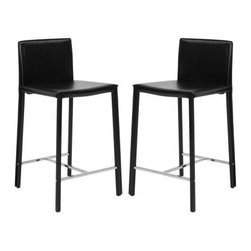 """Safavieh - Jason 24"""" Counter Stool (Set Of 2) - Black - Choose the 30 Jason barstool for clean, contemporary seating at your kitchen counter or family room bar. With minimalist lines, stainless steel foot rails and an iron frame completely upholstered in bold red bonded leather, Jason will keep its good looks for years of active family service."""