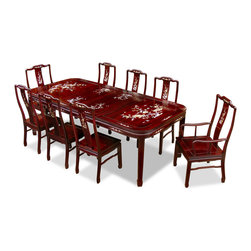 "China Furniture and Arts - 96in Rosewood Mother of Pearl Motif Dining Table with 8 Chairs - Completely hand crafted of solid rosewood using traditional joinery technique by artisans in China and intricately inlayed with mother-of-pearl flowers decorate the entire table top and the chairs, this rectangle dining set is an eye catching piece every time when you entertain. The table can be extended to 96"" with two 18""W removable leaves for your convenience. Hand applied dark cherry finish enhances the beauty of the pearl inlaid."