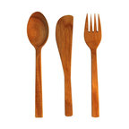 Be Home - Teak Flatware Set, Small, 12 Pieces - For a dining experience that's truly unique, try teak. This 12-piece set (service for four) has a planet friendly bonus: The pieces are crafted from excess material the logging industry leaves behind.