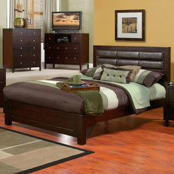 Alpine Furniture - Solana Full Platform Bed with Faux Leather Headboard - Solana Full Platform Bed with Faux Leather Headboard