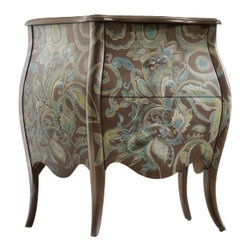 Silver Leaf - Romance Chest - A delicate, romantic pattern, along with shaped legs and crystal knobs, strike a pleasing contrast with the organic color palette of the petite Romance chest. Two drawers.