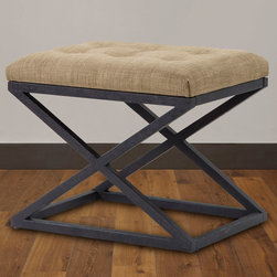 None - Renate Beige Ottoman - Add a stylish seating accent to any space with the Renate ottoman. Featuring a reclaimed rustic finish on the metal base, the ottoman is topped with a comfortable beige linen tufted cushion for added comfort.