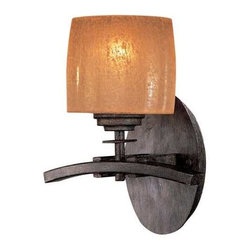 Minka Lighting - Sconce with Amber Glass - 6181-357 - This sconce features a timeless design and a vibrant amber shade. A curved linear accent draws attention to the distinguished glass. The warm iron finish has a dark brown tone that makes any decor more inviting. It is perfect for placement in multiples, but can also be used as a single, decorative light. Takes (1) 100-watt incandescent A19 bulb(s). Bulb(s) sold separately. Dry location rated.
