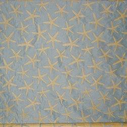 Blue starfish fabric sea star upholstery pastel, Sample - A star fish fabric. A light blue upholstery weight fabric with sea stars!