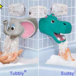 Kel-Gar - Tubbly Bubbly Bathtub Spout Safety Cover - Keep bath time safe and fun with this whimsical spout cover. Bumps and bruises begone when you slip on either the elephant or the hippo as protective, playful friends for your child's bath time.