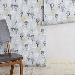 """Porridge - Hot Air Balloons Wallpaper - An Anthropologie exclusive by PorridgeAdhesive requiredHandwoven, non-printed paperRoll: 27'L, 27""""WRepeat: 25.25""""LCovers 60.75 square feetHandmade in USA"""