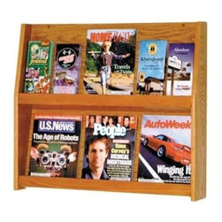 Wooden Mallet - Wide Two-Tier Oak Magazine Rack (Light Oak) - Finish: Light OakMagazines and brochures will be easily displayed on this two-tier wall mount rack, a sturdy oak piece in your choice of finish options. The rack is ideal for hotels, doctor's offices and rest stops, and features removable acrylic dividers to keep items organized. The rack is available in your choice of finishes. Pre-drilled with hardware included for simple wall mounting. Removable dividers keep literature and magazines neat and orderly. Displays 4 in. brochures or 8.5 in. x 11 in. and wider literature. Furniture quality construction with solid oak sides and shelves sealed in a durable state-of-the-art finish. Pictured in Medium Oak. No assembly required. Optional floor stand is not included for 49 in. tall displays. 4.75 in. D x 28.5 in. W x 24.5 in. H (16 lbs.). Floor Stand: 16 in. D x 7.5 in. W x 2 in. H (10 lbs.). 1-Year warrantyWooden Mallet's full-view literature displays are a classic and beautiful way to display your literature. Slanted back shelves allow full view of literature while keeping it neat and organized. money