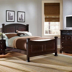 Vaughan Bassett - Panel Bed w Nightstand & Media Cabinet in Mer - Choose Bed Size: California KingIncludes panel bed, nightstand and media cabinet. Merlot finish. Assembly required. Nightstand:. 2 Drawers. 26 in. W x 16 in. D x 26 in. H. Media cabinet:. 3 Drawers. 1 Open shelf. 41 in. W x 18 in. D x 42 in. H. Panel bed:. Full Size:. Includes panel headboard, panel footboard and wood rails with 3 1-inch slats. Panel headboard: 58 in. L x 4.5 in. W x 55 in. H. Panel footboard: 58 in. L x 4.5 in. W x 32 in. H. Wood rails: 76 in. L x 6 in. W x 1 in. H. Queen Size:. Includes panel headboard, panel footboard and wood rails with slats. Panel headboard: 65 in. L x 4.5 in. W x 56 in. H. Panel footboard: 65 in. L x 4.5 in. W x 32 in. H. Wood rails: 82 in. L x 6 in. W x 1 in. H. California King Size:. Includes panel headboard, panel footboard, wood rails and metal slats. Panel headboard: 82 in. L x 4.5 in. W x 58 in. H. Panel footboard: 82 in. L x 4.5 in. W x 32 in. H. Wood rails: 86 in. L x 6 in. W x 1 in. H. Eastern King Size:. Includes panel headboard, panel footboard, wood rails and metal slats. Panel headboard: 82 in. L x 4.5 in. W x 58 in. H. Panel footboard: 82 in. L x 4.5 in. W x 32 in. H. Wood rails: 82 in. L x 6 in. W x 1 in. H