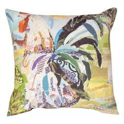 """Manual - Pair of """"Farm Art Rooster"""" Print Indoor / Outdoor Throw Pillows - This pair of 18 inch by 18 inch woven throw pillows adds a wonderful accent to your home or patio. The pillows have (No Suggestions) weatherproof exteriors, that resist both moisture and fading. The pillows feature the same abstract rooster print on both front and back. They have 100% polyester stuffing. These pillows are crafted with pride in the Blue Ridge Mountains of North Carolina, and add a quality accent to your home. Original artwork by Fabrice de Villeneuve. They make great gifts for rooster lovers."""