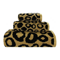 Leopard Skin Bath Towel Ensemble - Towels can be easily changed when you change your mind, so why not use a little leopard print in one of your bathrooms?