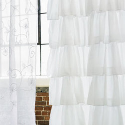 Ruffle Shower Curtain - A lovely cascade of ruffles, this shower curtain is made of soft white cotton.