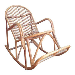 Used Franco Albini MCM Style Bamboo Child's Rocker - Franco Albini bamboo style Italian MCM rocker. Child size, so super cute in a modern nursery. Excellent condition except for one small repair on seat.
