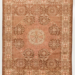 Rug Knots - Pink and Brown Hand Made Chobi Ziegler Oriental Rug with Border 8x9.6 - Complement your rustic-chic design scheme by rolling out this rug, which features warm, Overdyed-inspired colors of rust rose and faded browns. A fun, simple pattern complements the throwback color scheme with large geometric shapes and intricate floral motifs. This feminine rug would add grace and warmth to a modern, minimalist space; it would also look lovely against antique furniture in a retro-style space. This charming rug is made of pure wool, making it durable and long lasting. Lighten up a space by displaying this work of art.