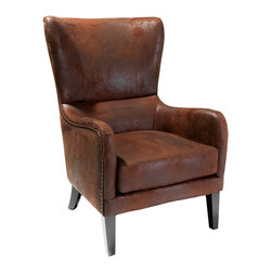Great Deal Furniture - Clarkson Wingback Arm Chair - Upholstered in classy aged microfiber the Clarkson wingback design arm chair provides a classic look to your living room, bedroom, or office. With soft brown aged microfiber upholstery and a well padded seat and back, the Clarkson will be your favorite arm chair for years to come.