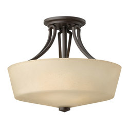 Hinkley Lighting - Parker Semi-Flush Mount Dome - The Parker collection offers a contemporary, decorative twin arm construction fused with a rustic finish for a look that fits well in elegant home decor. Buckeye Bronze finish with etched amber linen glass. 6 in. diameter canopy.