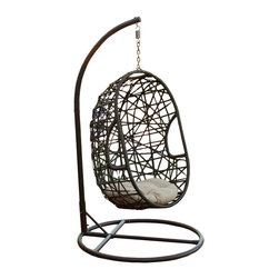 Great Deal Furniture - Guerneville Egg-Shaped Swing Chair - Enjoy a relaxing afternoon outside reading or watching the weather on our Guerneville Egg-Shaped Swing Chair. Made out of PE Wicker along with a powder-coated metal finish that is both UV and weather resistant, you can feel free to leave the swing outside year round.