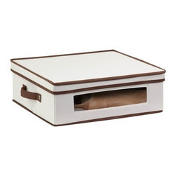 Natural Canvas Large Window Storage Box - Honey-Can-Do SFT-02066 Dinnerware Storage Box, Natural/Brown. Store up to 12 standard-sized cups in this 16.5x14.25 inch storage box. The clear view window lets you easily see the contents while the lift off lid simplifies access. Protective inserts help safeguard against chips or scratches. Remove the dinnerware inserts and this storage box turns into a great closet organization tool. Store boots, sweaters, linens, or seasonal clothing. In classic off-white with brown accents, this stackable storage box will instantly upgrade any pantry or closet. Made of polyester and cotton canvas.