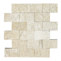 STONE TILE US - Stonetileus 4 pieces (4 Sq.ft) of Mosaic Botticino 2x4 Split Face - STONE TILE US - Mosaic Tile - Botticino 2x4 Split Face Coverage: 1 Sq.ft Piece per : 18 pc(s) Tile size: 2x4 Sheet mount:Meshed back Stone tiles have natural variations therefore color may vary between tiles. This tile contains mixture of white - light brown - dark brown - and color movement expectation of low variation, The beauty of this natural stone Mosaic comes with the convenience of high quality and easy installation advantage. This tile has Split Face surface, and this makes them ideal for walls, kitchen, bathroom, outdoor, Sheets are curved on all four sides, allowing them to fit together to produce a seamless surface area. Recommended use: Indoor - Outdoor - High traffic - Low traffic - Recommended areas: Botticino 2x4 Split Face tile ideal for walls, kitchen, bathroom,Free shipping.. Set of 4 pieces, Covers 4 sq.ft.