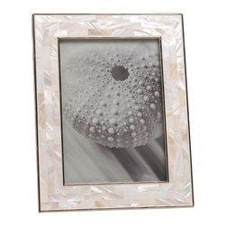 Malibu Creations - Malibu Creations Mother Of Pearl Mosaic Frame 5x7 - Behold a masterpiece of mosaic mother-of-pearl tiles, carefully chosen to accentuate the beauty just inside their border. The shimmering shades of white, gray and taupe iridescent tiles will call attention to the 5x7 photo you place inside this luxe photo frame. The light in the room will dance around the mosaic in splendid form, creating a visually stunning showcase for your memories caught on film.