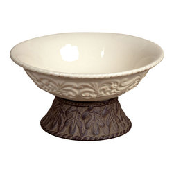 GG Collection - GG Collection Pedestal Bowl - Bowl, Cream Ceramic w/Brown Metal Base, 9.5in Dia, Original Acanthus Leaf, Care: Ceramic is dishwasher safe, wash metal in mild soap and dry with a soft cloth