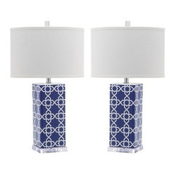 Safavieh Table Lamps, Navy/White, Set of 2 - It doesn't get any better than snagging a pair of Safavieh table lamps for under $200. The royal blue shade is the perfect color to transition from season to season.