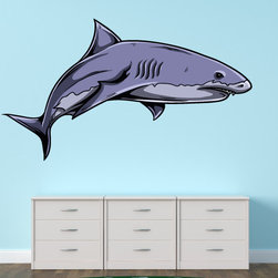 Shark Vinyl Wall Decal SharkUScolor001; 48 in. - Vinyl Wall Decals are an awesome way to bring a room to life!