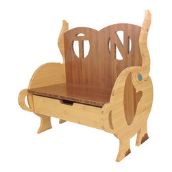 Chairzü - Elephant Bench with Drawer -Standard- - His name is Doopah, and this portly little fellow is made in America by True Craftsmen.