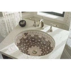 "Mediterranean Bathroom - Kohler K-14218-T4-0 Undermount Vitreious China 14"" 17"" Bathroom Sink In White Finish"