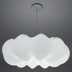 Artemide - Nuboli Suspension by Artemide - Fluffy and white, the Artemide Nuboli Suspension floats in the air like a cloud. It is quite large--more than 5' around--and glows warmly and brightly with the light of the six energy efficient CFLs within. The soft ring-shaped form is made of rotationally molded polyethylene, and is suspended from the ceiling by thin steel cables. Designed by Guido Matta. Since 1959, Artemide has created a wide array of modern table lamps, floor lamps, wall sconces and suspensions. Technologically advanced, and with styles ranging from clean and refined to sculptural and avant garde, many Artemide designs--especially the Tolomeo and Tizio--have become icons of contemporary lighting design.