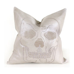 Pfeifer Studio - Leather Skull Pillow, Black - Our uber-cool skull pillow will make a statement wherever it rests its head.