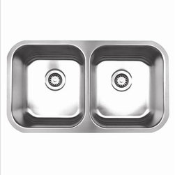 Whitehaus - Whitehaus Whnedb3118 Noah's Double Bowl Sink - Double bowl undermount sink