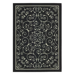 "Nourison - Nourison Home and Garden RS019 (Black) 7'9"" x 10'10"" Rug - Add some excitement to any surrounding with these magnificent indoor/outdoor rugs. Floral, scrollwork, and animal-skin patterns in vivid color make this a truly eye-catching collection. These versatile rugs are beautiful to look at, soft to walk on, easy to clean by just hosing down and can withstand almost all outdoor conditions. Indoor or Outdoor Uses UV Protected Mildew Proof Fade Resistant Easy Clean: Just Rinse with a Hose"