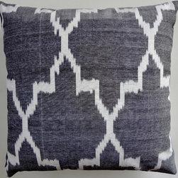 ikats - gray quatrefoil ikat pillow