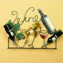"""Wine Rack Holder Wall Art Bottles Glasses, Vintage Home Decor - Wall mounted wine holder that holds 3 wine bottles and up to 6 wine glasses. 21-5/8""""h x 28-1/2""""w x 4""""d"""
