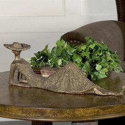Uttermost - Summer Days Sculpture - Heavily textured Antiqued Bronze. 5 in. L x 17 in. W x 5.5 in. H