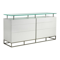 Casabianca - Grove Buffet - CB/K017B - Shop for Buffets and Side Boards from Hayneedle.com! Display your collectibles and decorative appliances on the Grove Buffet. Crafted of engineered wood and metal this buffet features a shining stainless steel and white finish. With a solid glass top shelf showcasing your favorite items is made easy. Its self-closing mechanism completes this stunning home accessory beautifully making it a must own item for all your displaying and storing needs.