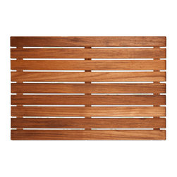 TEAKWORKS4U - Teakworks4u Teak Bath Mat,Plantation Teak, Natural, Unfinished,Each - Teakworks4u Teak Bath Mat is constructed of marine grade stainless steel screws which are countersunk into the bottom supports and into the top slats. It is ideal for use inside or outside of the shower or tub or even outside by the pool or hot tub. It has anti-bacterial rubberized strips that are bonded to each teak support to assure that the mat stays in place.