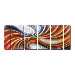 "Pure Art - Tension and Release Contemporary Metal Art Set of 6 - This large six panel metal art features rounded shapes with ""tails"" of layered waves in their wake. The contrast of purple and orange, separated by white, and three white circles pull the eye inward and make it appear as though these waves of color are converging and squeezing upon one another, ebbing and flowing like an abstract tide.Made with top grade aluminum material and handcrafted with the use of special colors, it is a very appealing piece that sticks out with its genuine glow. Easy to hang and clean."